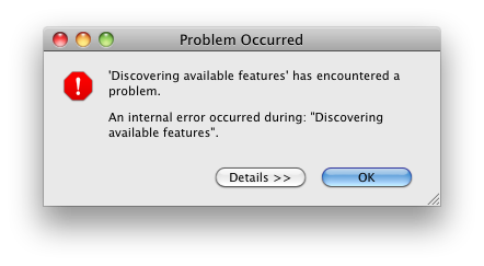 Discovering available features has encountered a problem